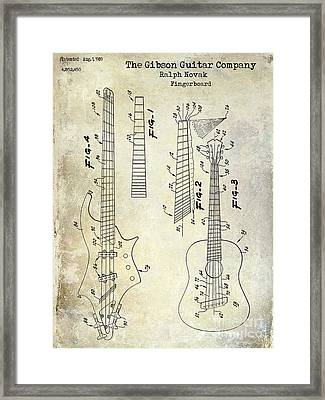 Gibson Guitar Patent Drawing Framed Print by Jon Neidert