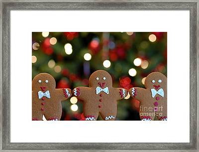Gingerbread Men In A Line Framed Print