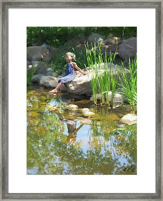 Girl At The Pond Framed Print