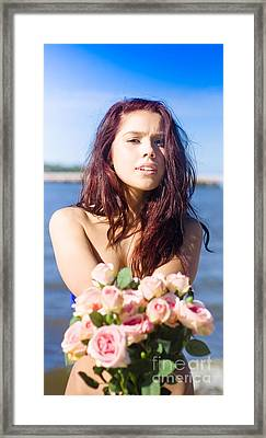 Girl Giving Rose Bouquet Framed Print by Jorgo Photography - Wall Art Gallery
