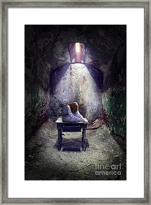 Girl In Abandoned Room Framed Print by Jill Battaglia