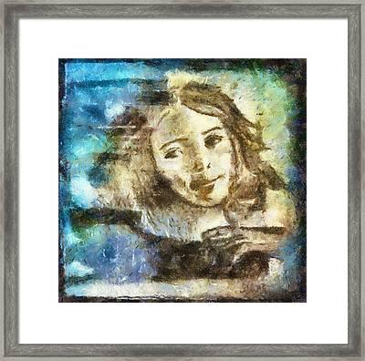 Girl In Blue Framed Print by Jennifer Woodworth