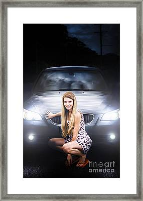 Girl In Front Of A Luxury Car Framed Print