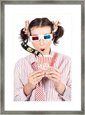 Girl In Pigtails Watching A 3d Comedy Movie Framed Print by Jorgo Photography - Wall Art Gallery