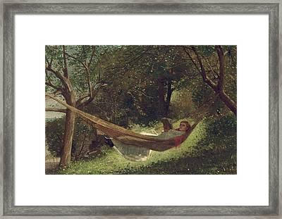 Girl In The Hammock Framed Print by Celestial Images