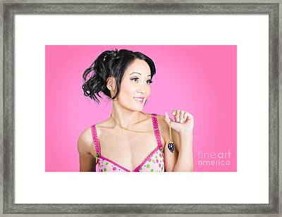 Girl Wearing Exquisite Jewelry On Pink Background  Framed Print