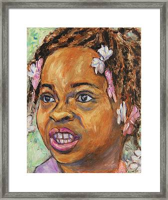 Framed Print featuring the painting Girl With Dread Locks by Xueling Zou