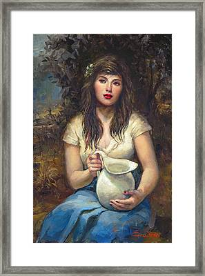 Girl With Pitcher Framed Print by Ron Escudero