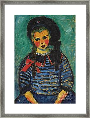 Girl With Red Ribbon Framed Print