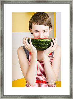 Girl With Short Hair Eating Ripe Juicy Watermelon Framed Print by Jorgo Photography - Wall Art Gallery
