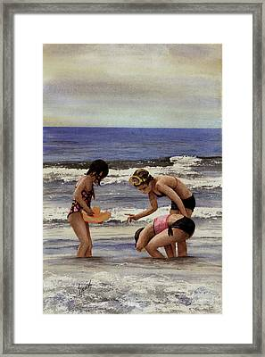 Girls At The Beach Framed Print by Sam Sidders