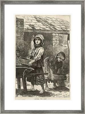 Girls Working In The Brickyards  - Framed Print