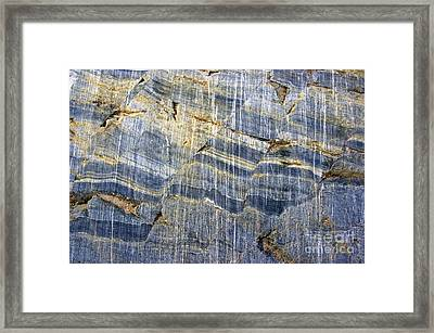 Glacial Striae On Fractured Marble Framed Print by Dr Juerg Alean