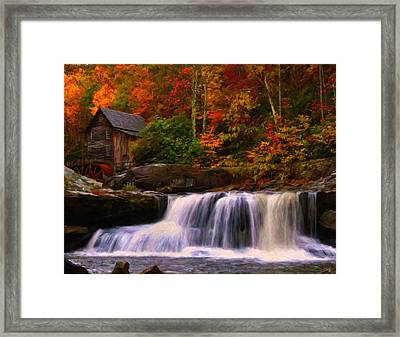Glade Creek Grist Mill Framed Print by Chris Flees