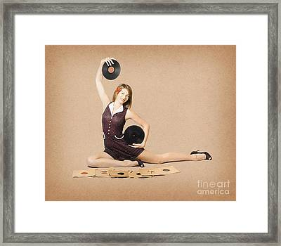Glamorous Pinup Girl Holding Vinyl Lp Records Framed Print by Jorgo Photography - Wall Art Gallery