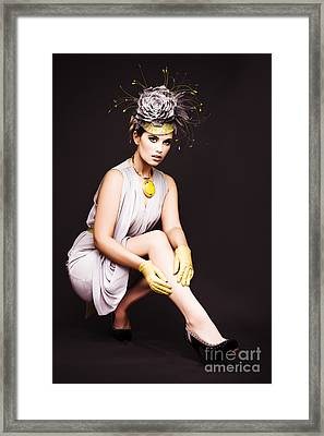 Glamorous Woman In Racecourse Fashion Framed Print