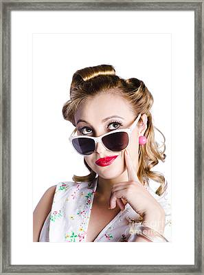 Glamorous Woman In Sunglasses Framed Print by Jorgo Photography - Wall Art Gallery
