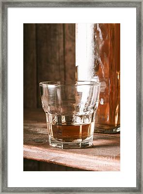 Glass Of Southern Scotch Whiskey On Wooden Table Framed Print