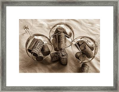 Glasses Of Corks Toned Framed Print by Georgia Fowler