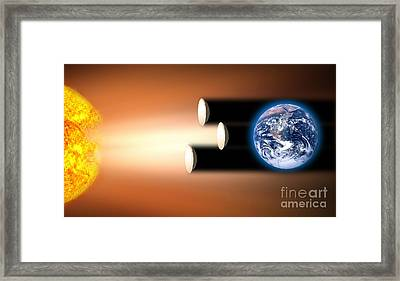 Global Warming Sun Shields, Artwork Framed Print by Victor de Schwanberg