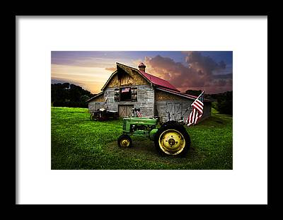 Red Wagon Framed Prints