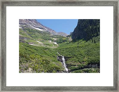 Going To The Sun Waterfall Framed Print by June Hatleberg Photography