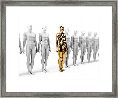 Gold And White Human Models Framed Print