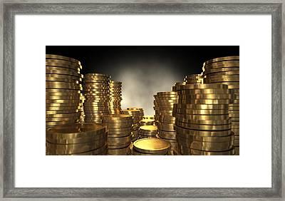 Gold Coin Stacks Framed Print by Allan Swart