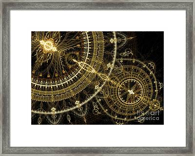 Golden Abstract Circle Fractal Framed Print