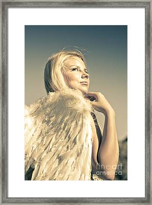 Golden Angel Looking To The Heavens Framed Print by Jorgo Photography - Wall Art Gallery