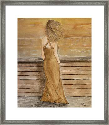 Framed Print featuring the painting Golden Breeze by Kelly Mills