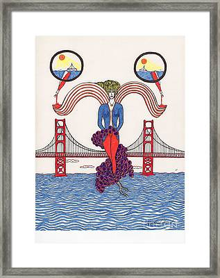 Golden Gate Lady And Wine Framed Print by Michael Friend