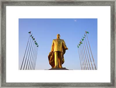 Golden Statue Of Niyazov In The Park Of Independence In Ashgabat Turkmenistan Framed Print