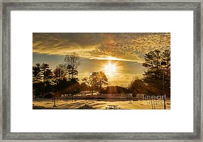 Framed Print featuring the photograph Golden Sunset by Brenda Bostic