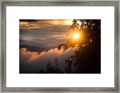 Golden Sunset Himalayas Mountain Nepal Framed Print by Raimond Klavins