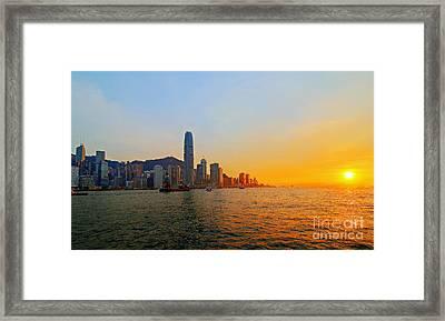 Golden Sunset In Hong Kong Framed Print by Lars Ruecker