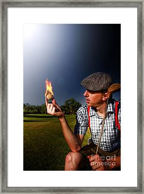 Golf Ball Flames Framed Print
