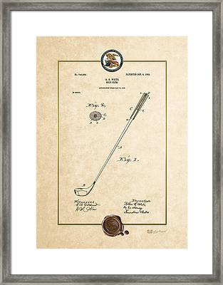 Golf Club By Rollin H. White - Vintage Patent Document Framed Print by Serge Averbukh