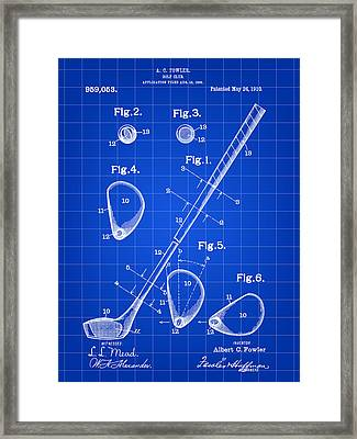 Golf Club Patent 1909 - Blue Framed Print by Stephen Younts