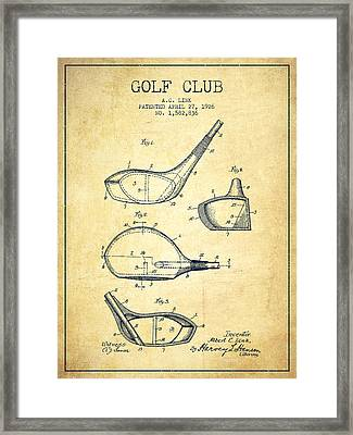 Golf Club Patent Drawing From 1926 - Vintage Framed Print
