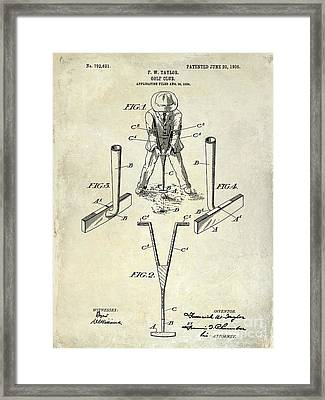 Golf Club Patent Drawing Framed Print