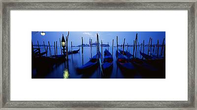 Gondolas Moored In A Canal, Grand Framed Print