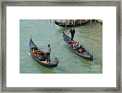 Gondolas On Grand Canal Framed Print