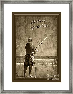 Gone Fish'in Text With Border By John Stephens Framed Print by John Stephens