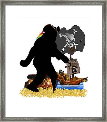 Gone Squatchin Fer Buried Treasure Framed Print by Gravityx9  Designs