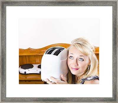 Good Looking Woman Serving Breakfast In Kitchen Framed Print by Jorgo Photography - Wall Art Gallery