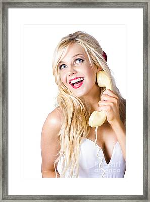Gorgeous Blond Woman Laughing On Telephone Call Framed Print