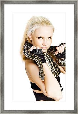Gorgeous Blonde Snake Handler Framed Print
