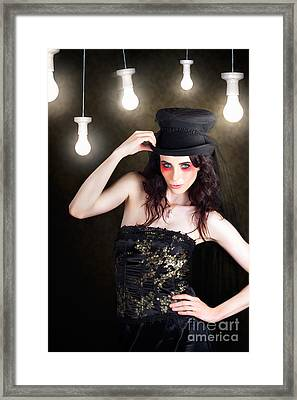 Gorgeous Female Fashion Model Wearing Top Hat Framed Print by Jorgo Photography - Wall Art Gallery