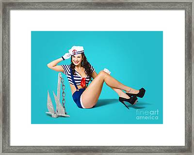Gorgeous Pin Up Sailor Girl Wearing Hat Framed Print by Jorgo Photography - Wall Art Gallery